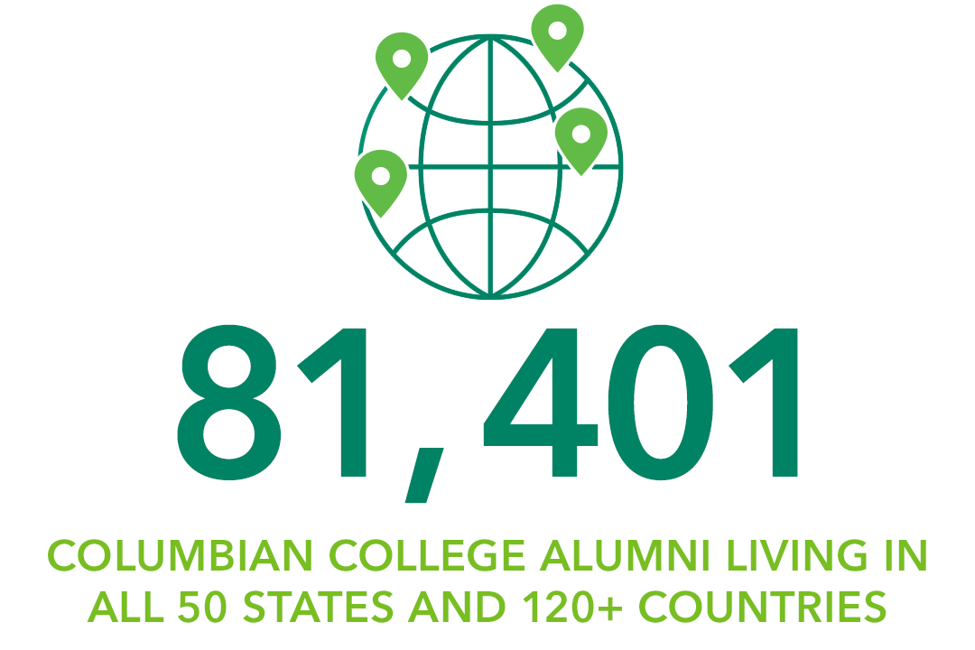 81,401+ Columbian College alumni living in all 50 states and 120+ countries