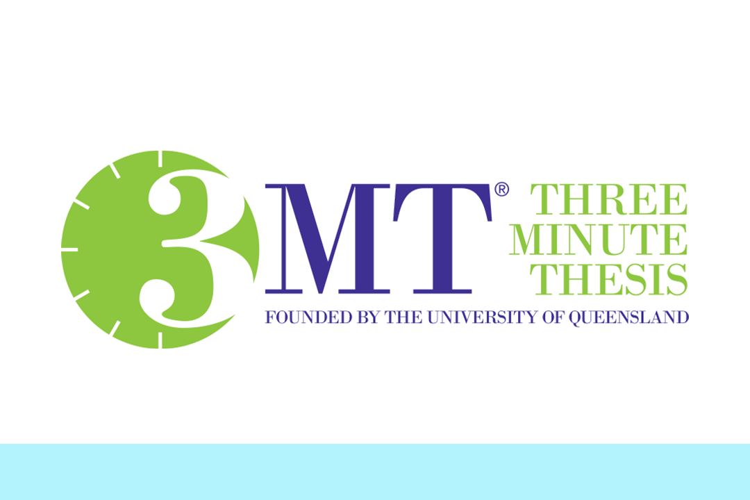Logo for 3MT - 3 Minute Thesis, Founded by the University of Queensland