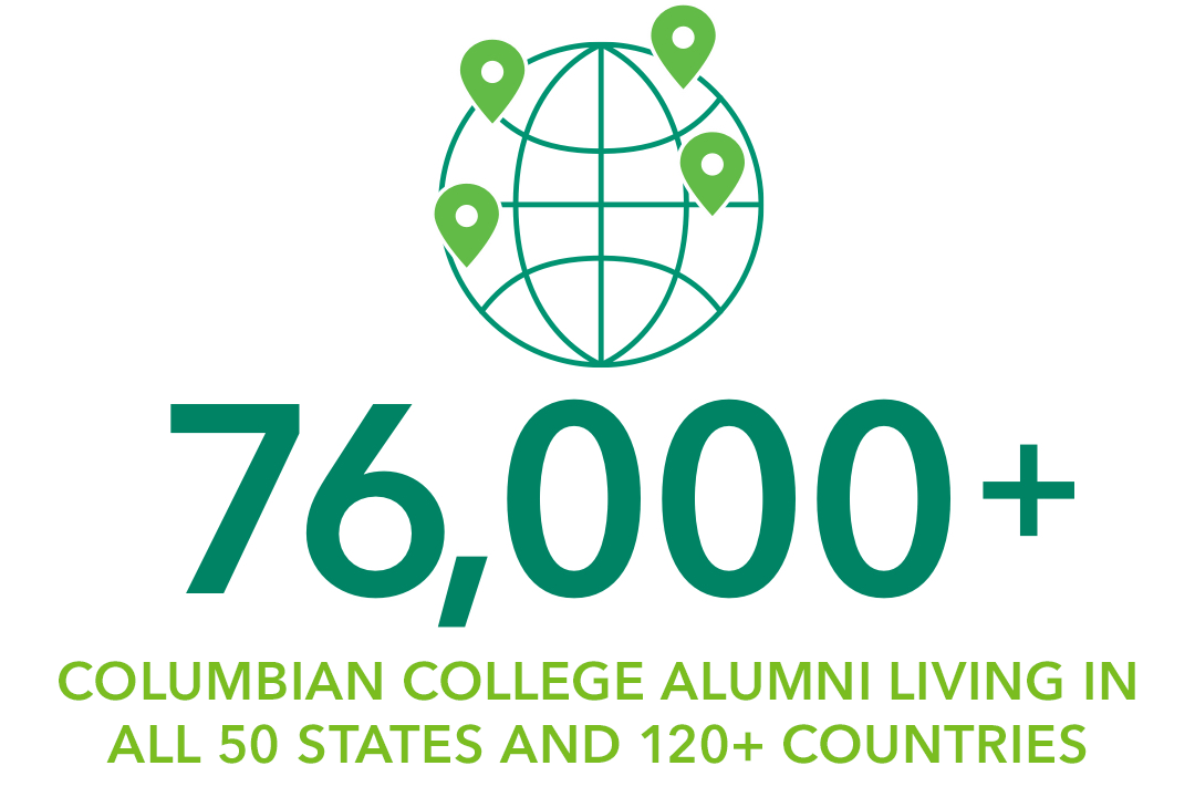 76,000+ Columbian College alumni living in all 50 states and 120+ countries