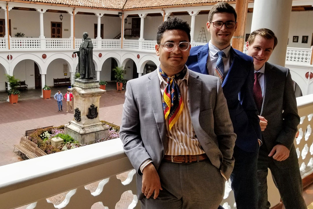 GW debaters (from left) Shawky Darwish, Itiel Wainer and Sean O'Neil at the Universidad del Rosario in Bogotá, Colombia.