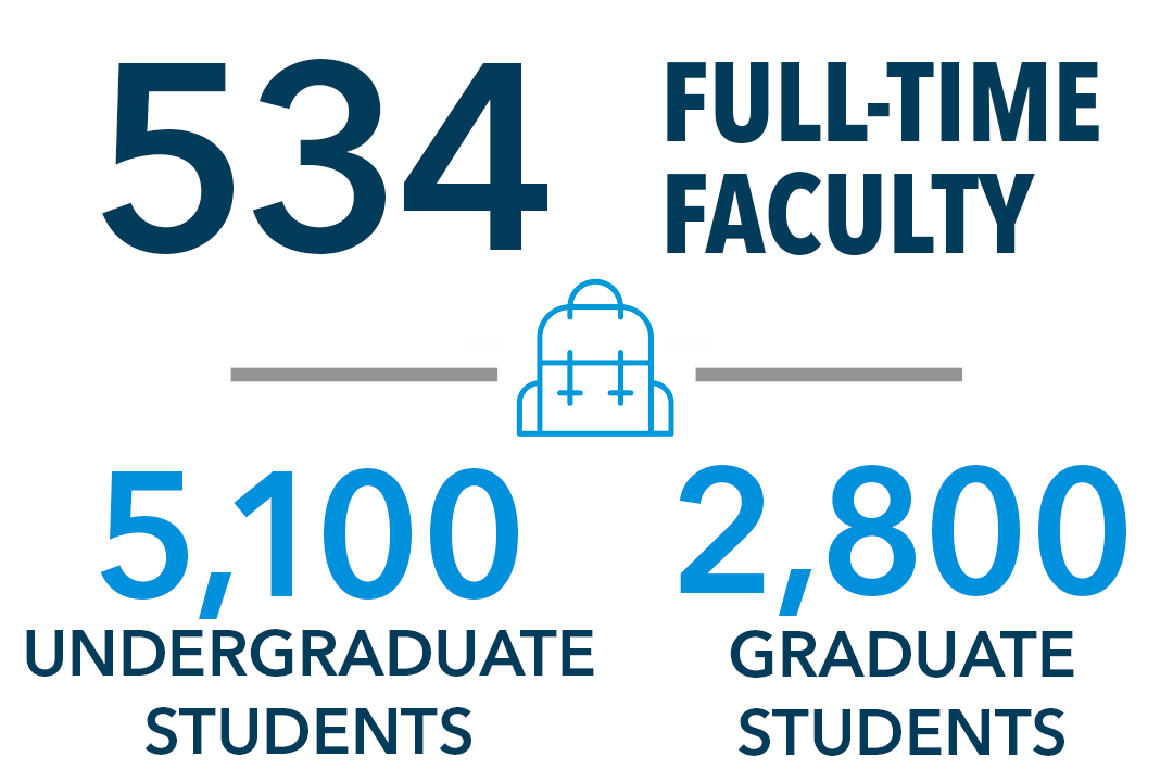 534 full-time faculty. 5,100 undergraduate students. 2,800 graduate students