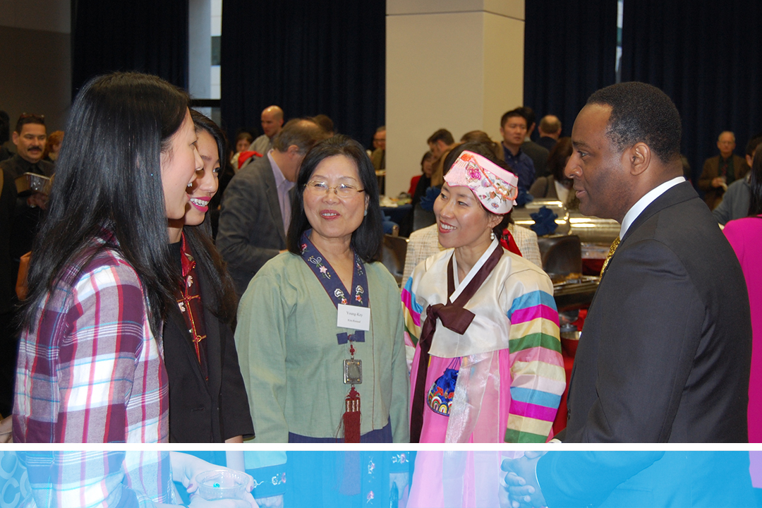 Dean Vinson with International Students