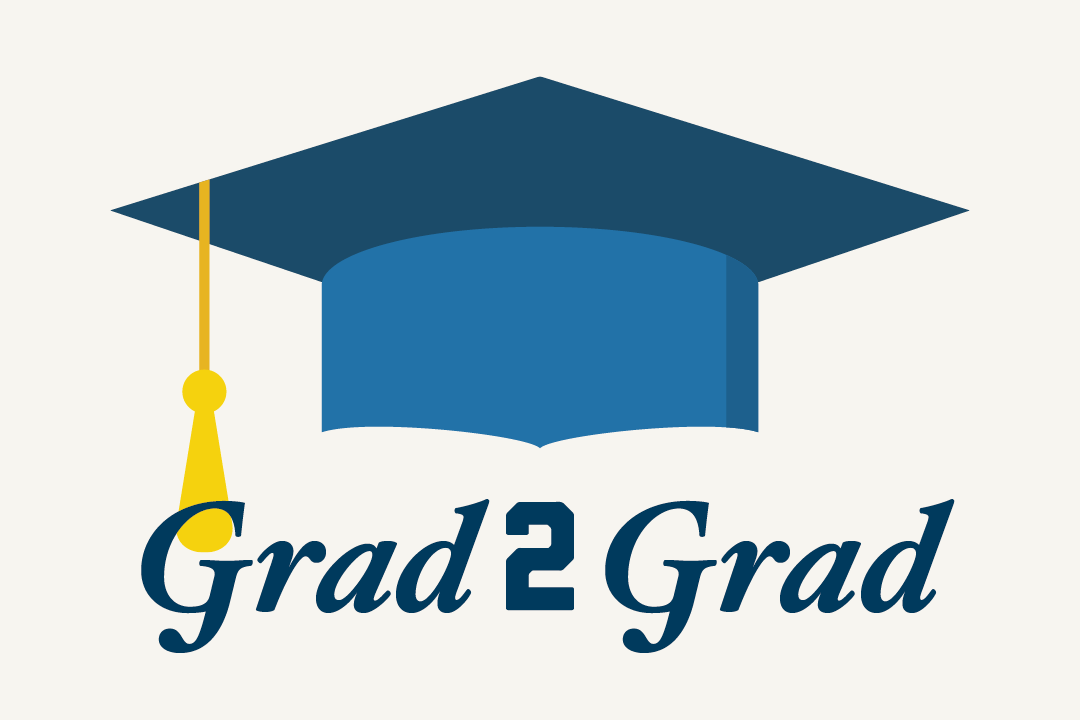 Illustration of a blue graduation cap and the words Grad2Grad