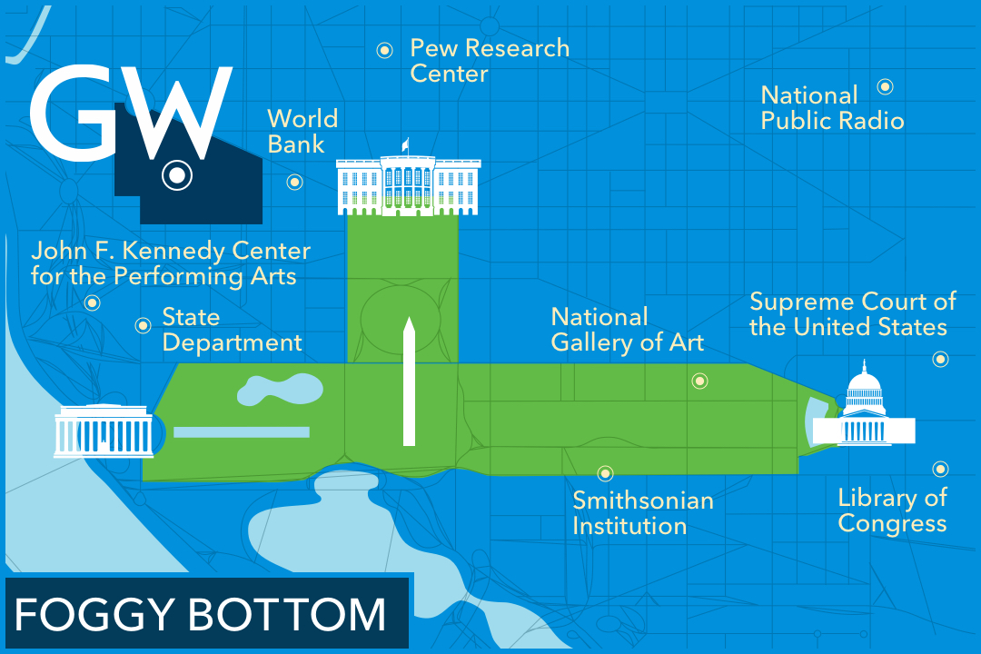 Map of GW's Foggy Bottom campus showing its proximity to the John F. Kennedy Center for the Performing Arts, the U.S. State Department, the World Bank, Pew Research Center, the Smithsonian Institution, the National Gallery of Art, National Public Radio, the Library of Congress and the Supreme Court of the United States.