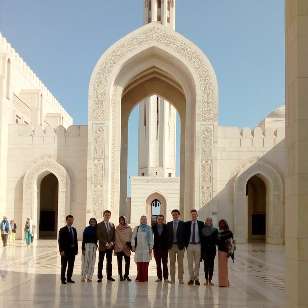 During their week long study abroad trip to Oman, students visited the Sultan Qaboos Grand Mosque in Muscat. From left: TKTKTKTK