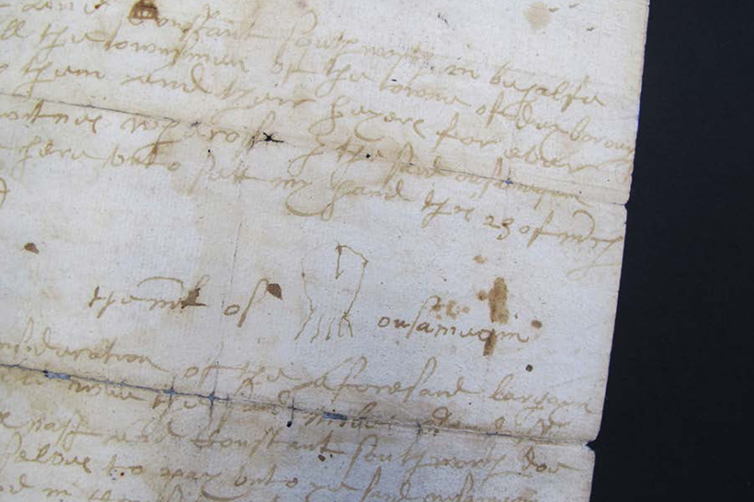 The mark of Ousamequin, the Wampanoag sachem (or chief) who greeted the Pilgrims, appears on a 1649 land deed for territory that is now the Massachusetts town of Bridgewater. (Courtesy Old Bridgewater Historical Society)
