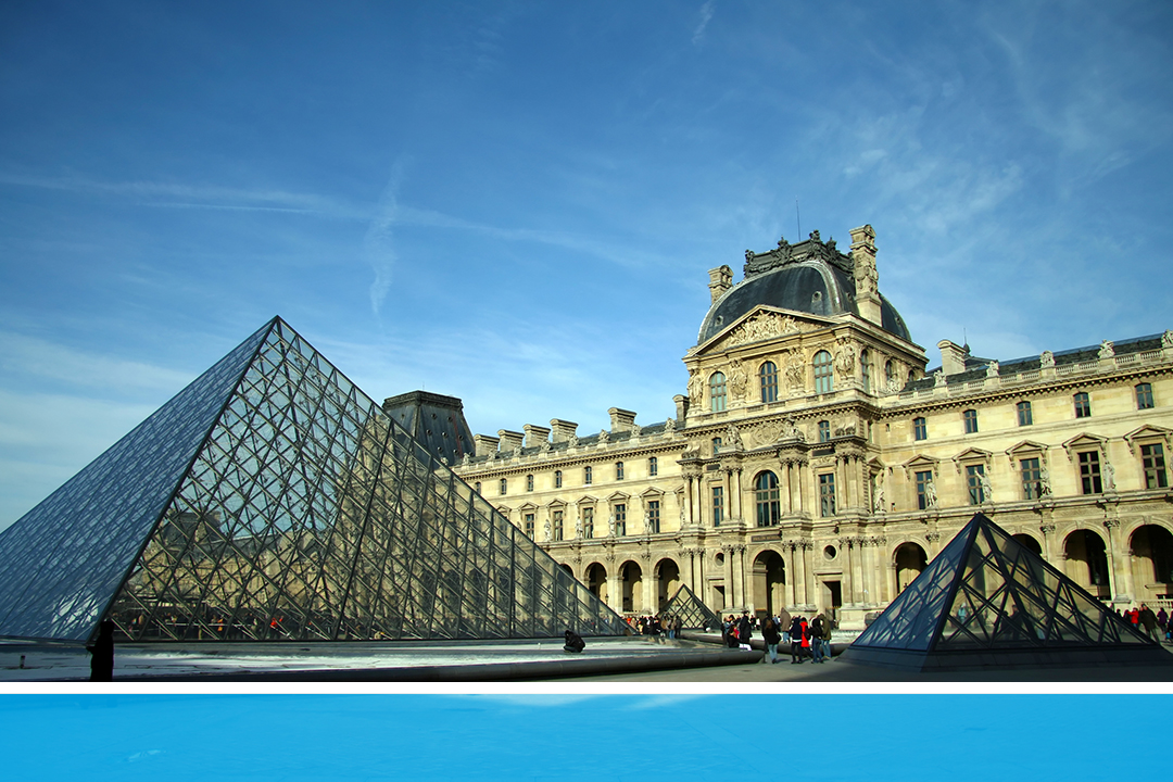Exterior shot of the Louvre