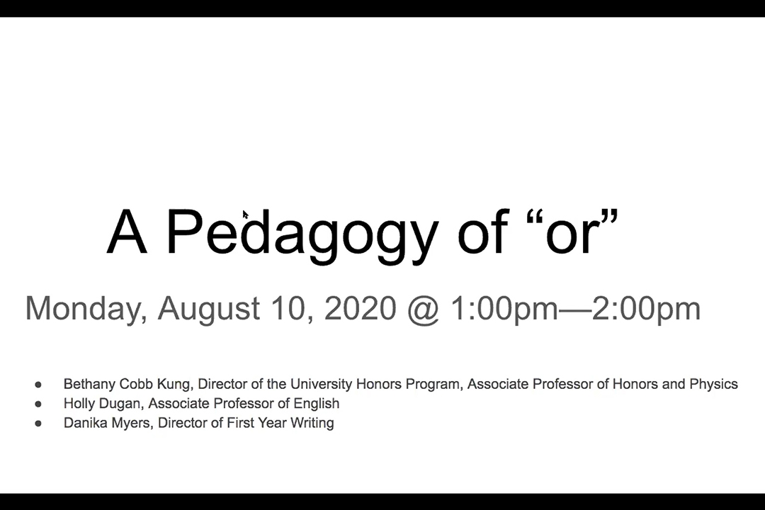 A Pedagogy of or
