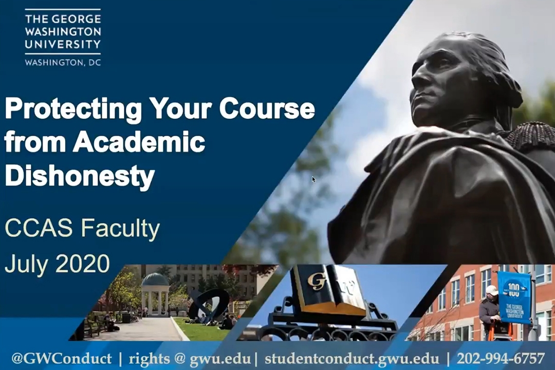Webinar title: protecting your course from academic honesty, with pictures of George Washington statue on the right side