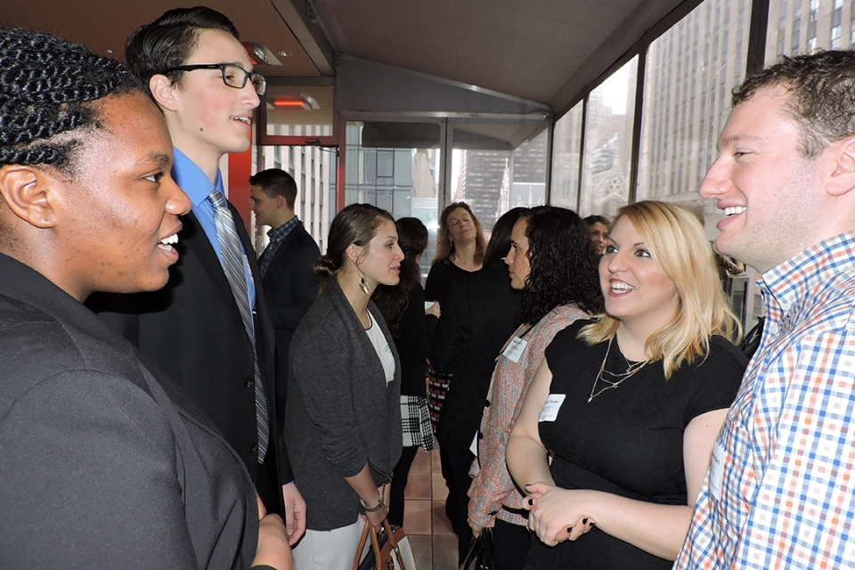 Students and alumni meet at GW Career Center networking events such as the New York City Career Quest Spring 2016 Alumni Breakfa