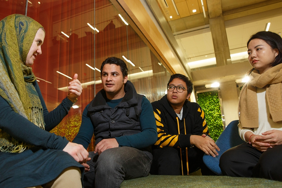 Students from the Islamic Studies program. From left, Kelly El-Yacoubi , Ali Mohamed, Halim Khoiri and Yi Lei. (Photo: Logan Wer