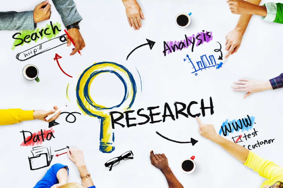 "Graphic of a magnifying glass, graph, files, and web search bar with the words ""Research, Search, Analysis, and Data"""