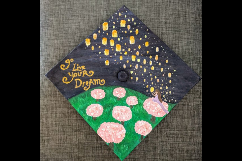 "Grad Cap with the text ""go live your dreams"""
