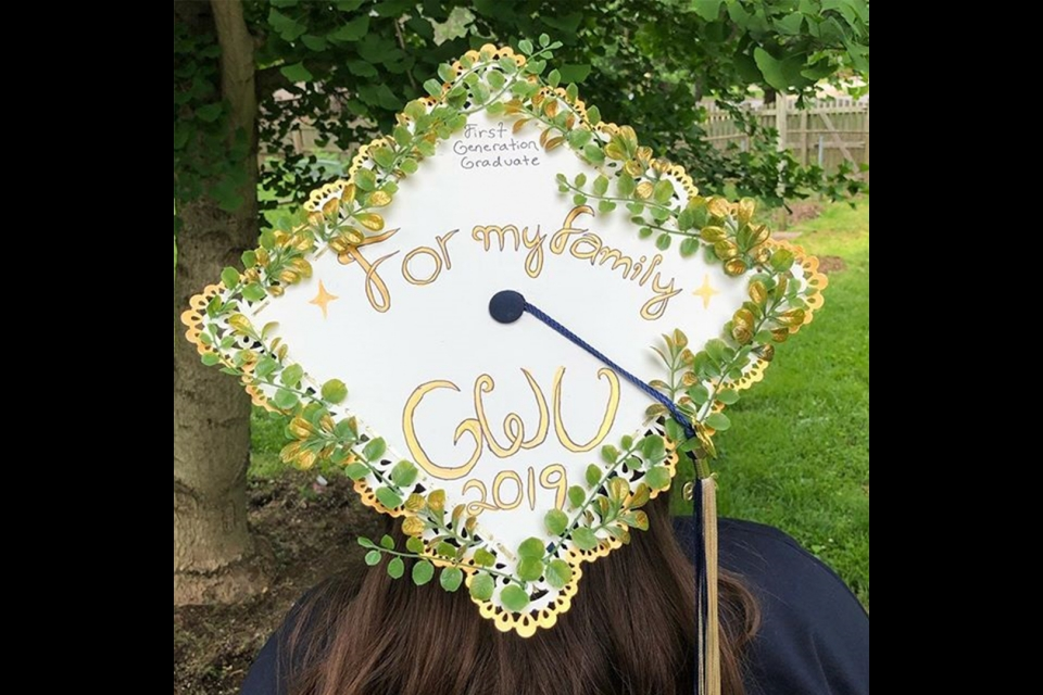 "grad cap with the text ""for my family GWU 2019"""