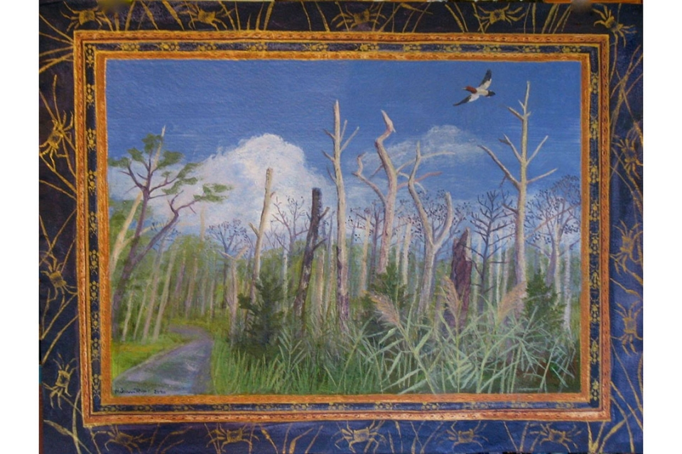 Painting showing a forest of dead trees in a marsh with a bird flying