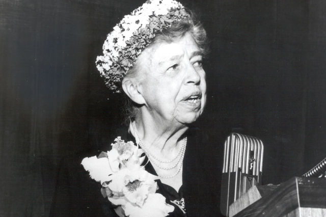 Eleanor Roosevelt speaking after receiving the 1956 Sidney Hillman public service award at the Commodore Hotel in New York City.