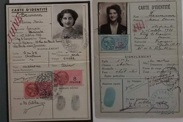 During World War II, Jews in France like Denise Bauman were required to carry identity cards. (Photos Courtesy Ashley Valanzola)