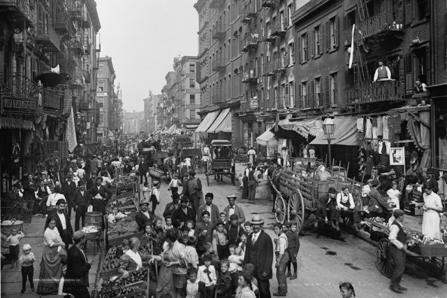 New York City's Mulberry Street was a main thoroughfare for immigrant families, circa 1900.