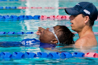 Aaron Moffett, BA '99, head coach of the U.S. Invictus team, trains wounded, ill and injured veteran athletes.