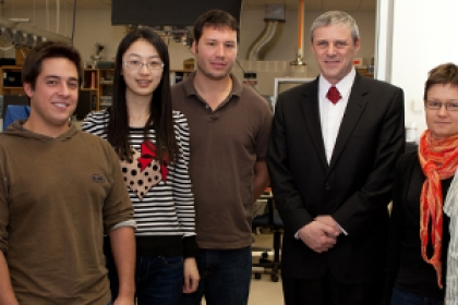 Professor Akos Vertes, third from right, and members of his lab worked on the LAESI technology that has won several awards.