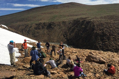 GW students studied mountain permafrost and glacial landscapes in the Ray-Iz Mountains. (Photo: Anna Sumi for PlanetForward.org)