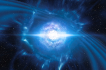 This artist's impression shows two tiny but very dense neutron stars at the point at which they merge and explode as a kilonova.