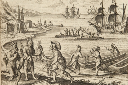 Jamestown colonists trade with Wampanoag Indians at Martha's Vineyard, Massachusetts in this 1597 Theodor de Bry illustration.