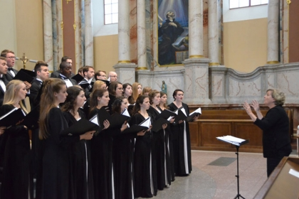 The choir performs at Church of St. Casimir in Vilnius, Lithuania.