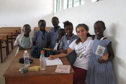 Ashleigh DeLuca, BA '13, taught sixth grade English to students in The Gambia.