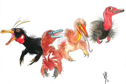 Artist's reconstruction of important alvarezsaur species from left to right, Haplocheirus, Xiyunykus, Bannykus, and Shuvuuia.