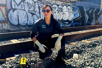 Erika Di Palma, MFS '07, is a forensic identification specialist with the Los Angeles County Sheriff's Department.