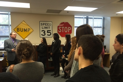 Students in Stephen Mitroff's class, at the National Highway Traffic Safety Administration