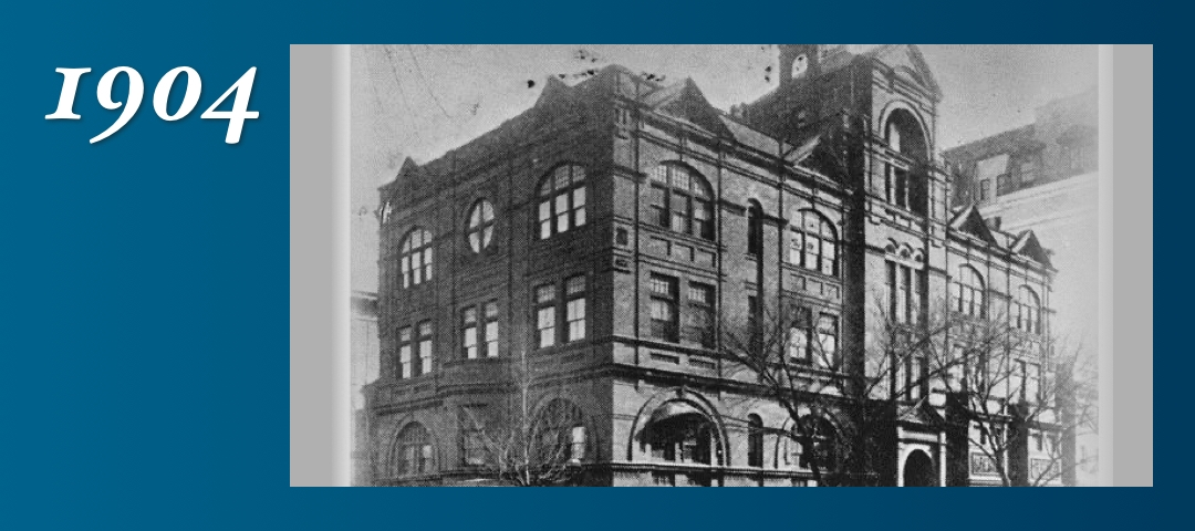 1904: Second home of the university from1884 to 1910, at 15th and K streetsNW.